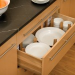 Our dish storage drawer offers a convenient location below the countertop for stacks of plates and bowls.