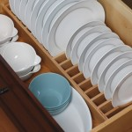 Our drawer plate rack is a convenient location and a unique way to store an entire set of dishware.