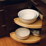 Two half-circle shelves pivot and pull-out for convenient access.