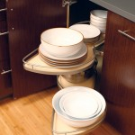 Giant turntable shelves swivel inside the cabinet and utilize valuable storage space.