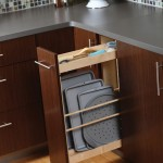 Tray storage in a pull-out offers a practical and convenient use of space.