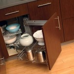 Wisely use the storage space within our large corner cabinets with our convenient swing-out wire baskets.
