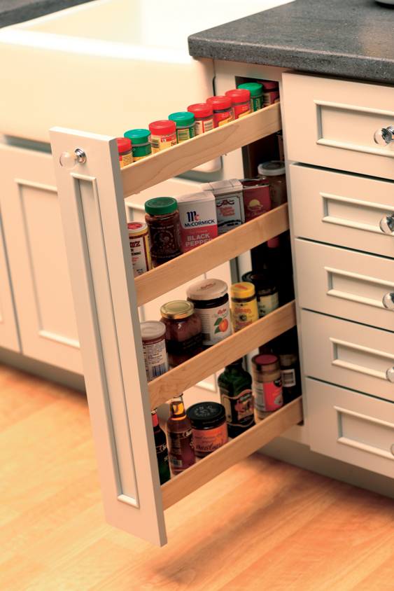 Small Spaces Offer A Surprising Amount Of Spice Storage With A Vertical  Pull Out Spice Rack.