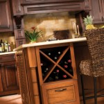 "Base cabinets can be designed with an ""X"" wine rack for an attractive display."
