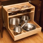 Your entire cookware collection can be organized neatly in this single pull-out that houses pots and pans in the lower section, and lids above.