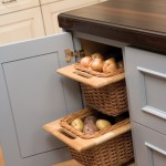 Open weave baskets offer popular pantry storage for onions and potatoes that need the air circulation, such as potato's and onions.