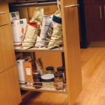 This wire pantry offers slim-line storage for smaller type pantry goods inside a base cabinet or a wall cabinet.