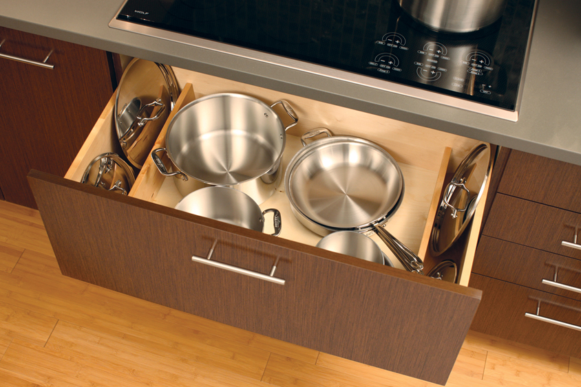 A Deep Drawer Below Cook Top Is An Ideal Location For Pots And Pans Add The Lid Storage Parion To Stand Lids On Both Sides Of