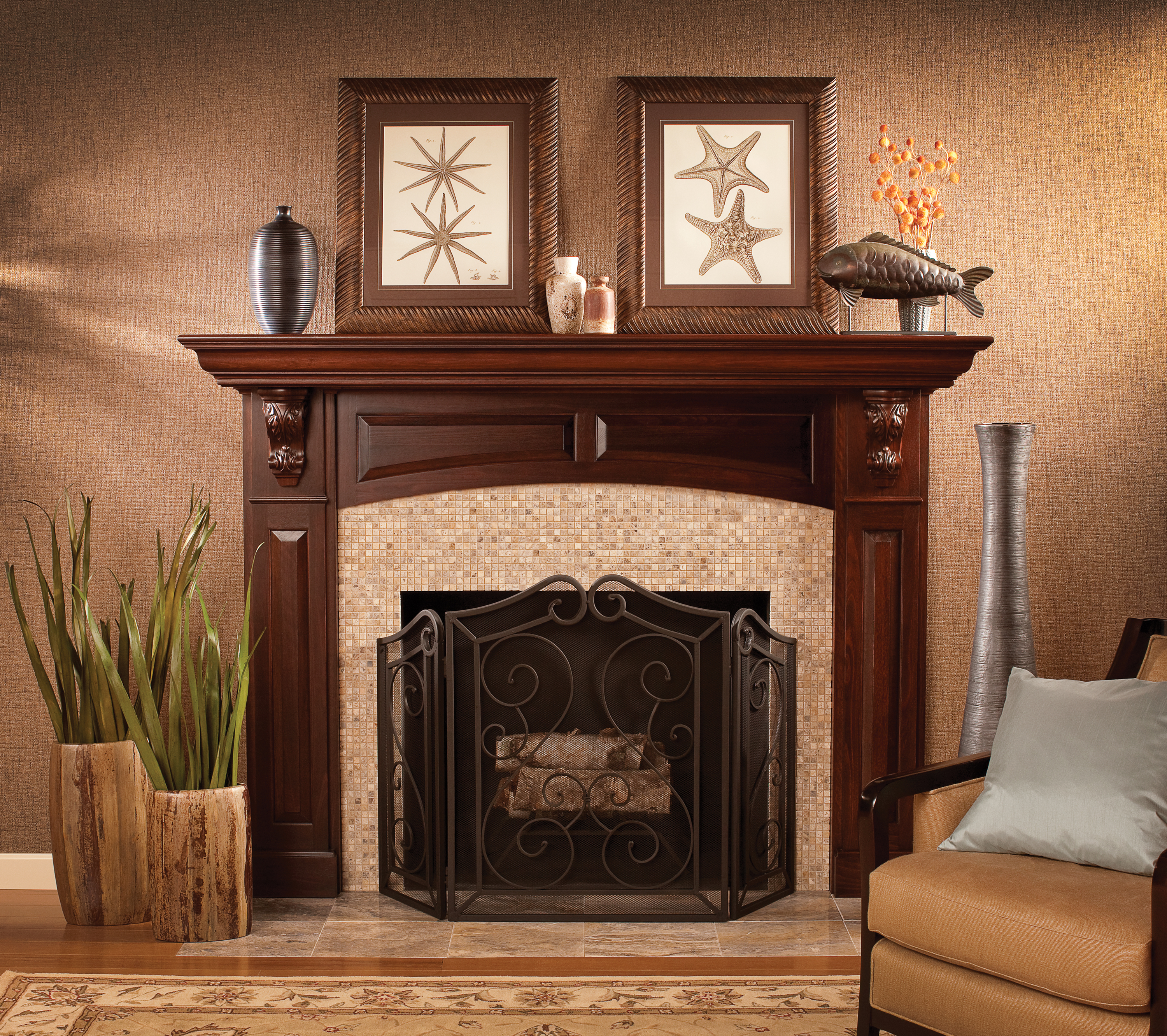 Cardinal kitchens baths fireplace mantels for Wood fireplace surround designs