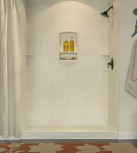 "72"" Shower w/ 12""x12"" Tile wall panels."