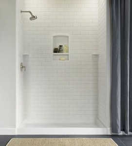 "72"" Shower w/ Subway Tile wall panels."